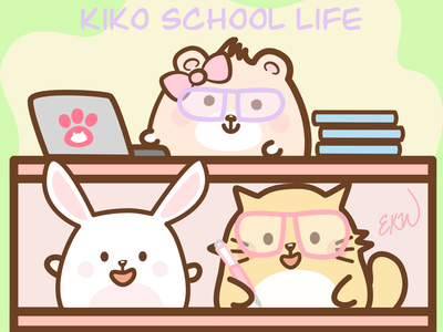'Kiko School Life'  iOS Animated Stickers on App Store cute illustration university high school college back to school school bear rabbit stickers ios app animated branding digital illustration cute art comic art cats artwork comic cartoon cat