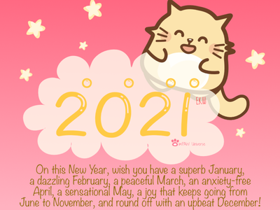 Happy New Year 2021~ art cute art cartoon character cartoon comic artwork design illustration cat celebration new year happy new year 2021 happy new year