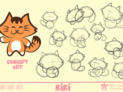 Kiki concept art digital illustration digital art 2d animation animation illustration comic art cartoon cat animal sketch 2d character 2d art turnaround concept cartoon illustration cats cartoon character concept character concept design concept art