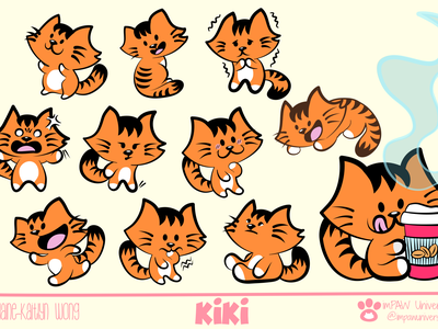 Kiki character emotions and poses sketchbook pro adobe fresco illustrator art affinity designer procreate art procreate digital art 2d art 2d branding cartoon illustration comic comic art cartoon character cartoon cats cat character concept design concept art
