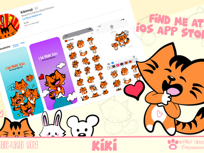 KikiMoji @ the App Store design art cartoon character teddy bear bear rabbit bunny art project artwork product design digital illustration digital art illustration art cartoon illustration cartoon cat digital stickers stickers app ios app