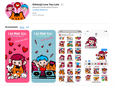 Kikimoji Love You Lots iOS sticker pack app valentine day valentine cartoon character hand drawn animation 2d animated gif rabbit teddy bear cats imessage stickers imessage phone app mobile design mobile app ios app ios sticker pack sticker design app design app