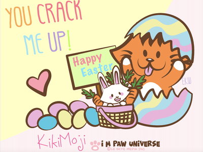 You Crack Me Up KikiMoji Easter 2021 eggs rabbit family friendship webcomics cute animals cute art happy easter digital art illustration digital illustration cartoon illustration cartoon character comic cartoon cat bunny easter bunny easter eggs easter