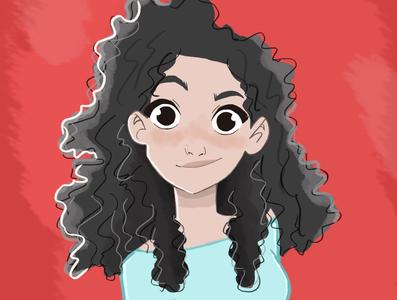 Curly girl artwork portrait art girl illustration girl character curlyhair portrait girl illustration