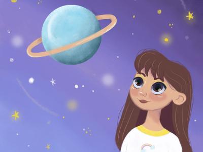 Dreamer girl galaxy portrait painting portrait design art digital painting digitalart characters character digital illustration artwork illustration