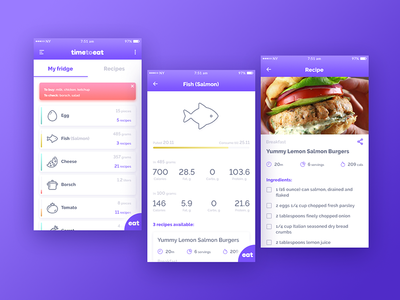 Time To Eat app fish recipe interactive cooking product business b2c interface app ux ui
