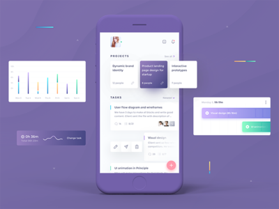 Merge. Team Management App ui8 sketch ux ui management team project dashborad productivity ios app