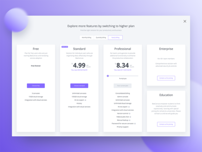 Pricing page marketing plans price saas desktop product business interface app ux ui