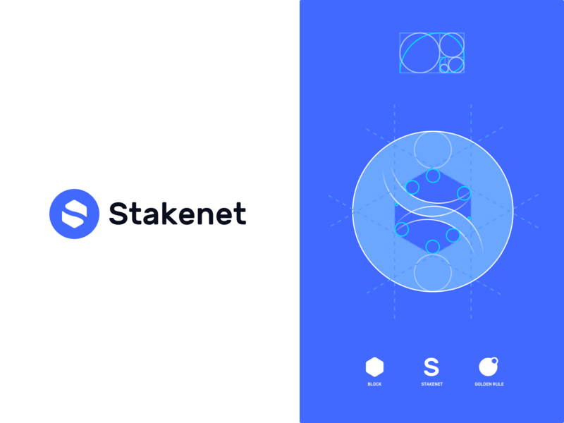 Stakenet Logo finance coin cryptocurrency crypto blockchain structure scheme grid golden ratio identity typography logo design business product
