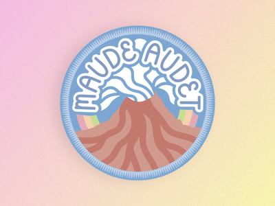 Maude Audet Patch fan art lava smoke lettering pastel stitching stitch gradient rainbow volcano patch musician music