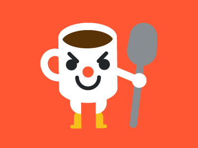 Fired-Up Coffee Cup hot energy happy character icon illustration art avatar spoon drink food coffee