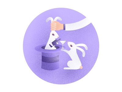 Booze Bunnies pink purple texture noise bunny booze wine martini liquor alcohol magician trick animal illustration rabbit