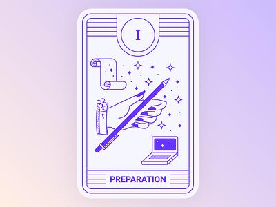 Application Tarot: Preparation stars illustration mystic magic indigo line lineart computer pen hand tarot