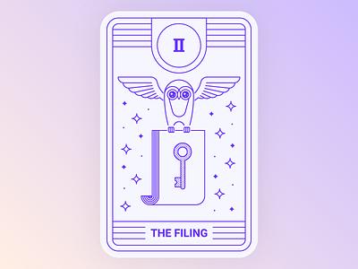 Application Tarot: Filing animal illustration mystic key magic stars bird owl tarot card tarot