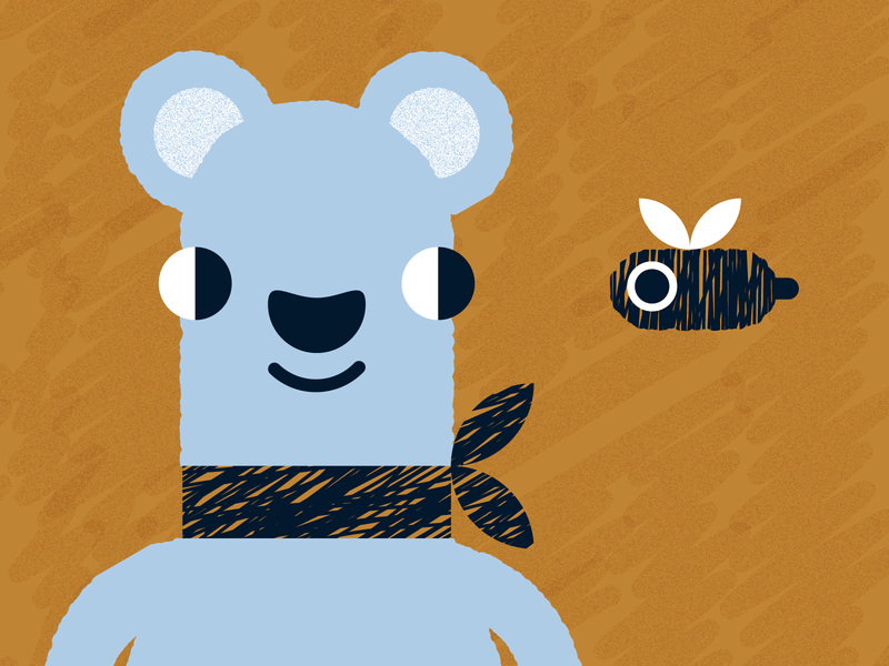 ʕ◉ᴥ◉ʔ grain noise texture honey bee character bear animal illustration