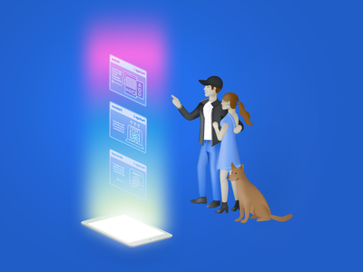 Choosing a Sales Package blend hvac isometric sales technology couple ipad light customer dog animal character illustration