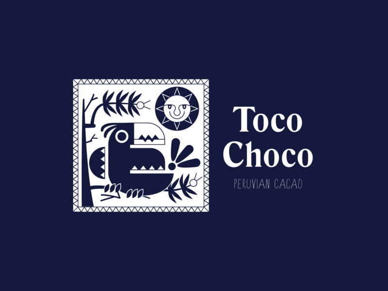 Toco Choco sun label chocolate cacao peru character logo animal bird toucan