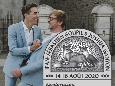 Fox Wedding Invitation 🦊 dancing montreal quebec laughing diptych print design scratchboard leaves gay marriage marriage equality marriage wedding invitation wedding gay rights gaypride gay foxes fox