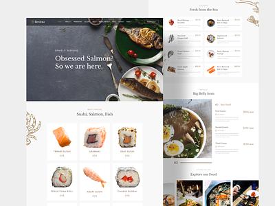 Seafood Restaurant Template Design flat minimal app schedule appointment form search item design visual trending ux web ui menu price seafood restaurant