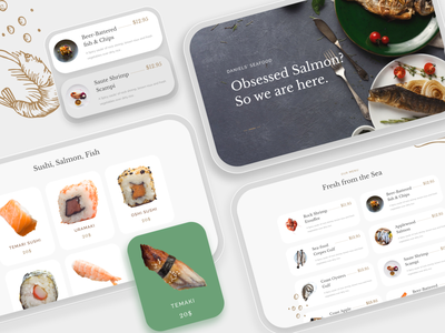 Seafood Restaurant Template Design flat minimal app schedule appointment form search item design visual trending ux web ui menu price seafood restaurant