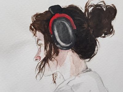 Illustrator close up aquarell portrait sketch watercolor watercolour illustration