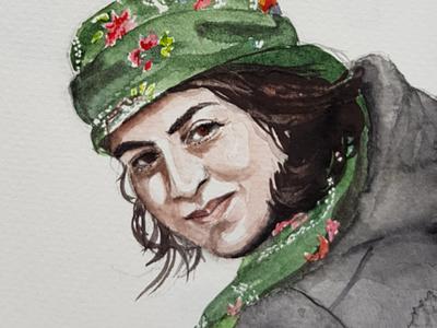 YPG Fighter portrait sketch watercolor watercolour illustration