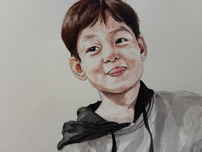 Little man portrait sketch watercolor watercolour illustration