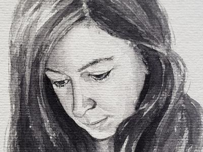 Black'n'white portrait sketch watercolor watercolour illustration