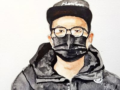 #mask aquarell portrait sketch watercolor watercolour illustration