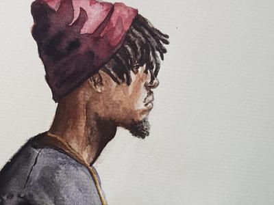 Little brother portrait sketch watercolor watercolour illustration