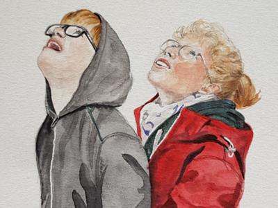 Siblings portrait watercolor watercolour illustration