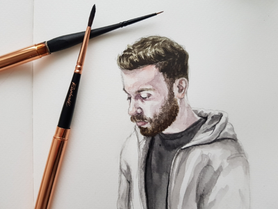 Waschsalon 1 portrait sketch watercolor watercolour illustration