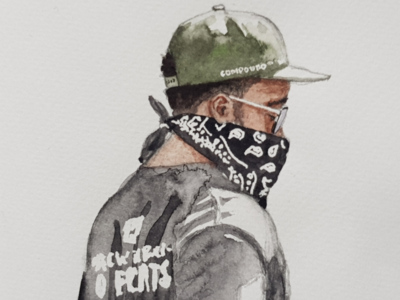 Protest! portrait sketch watercolor watercolour illustration