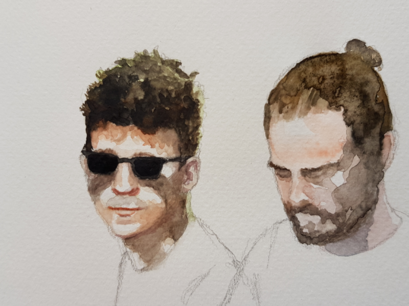 Part of a band sketch paper work hand made aquarell watercolour watercolor illustration