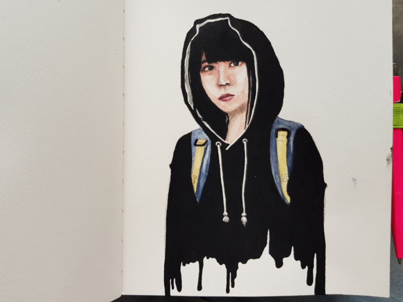 Suspicious drips sketch diary hand made paper watercolour watercolor marker illustration