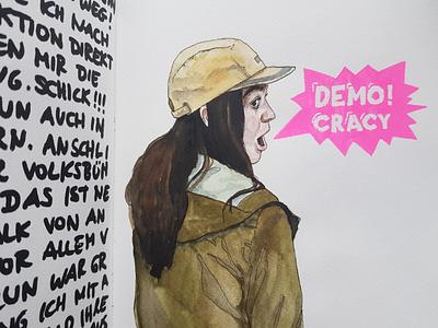 Demo!Cracy neon sketch watercolor watercolour aquarell illustration