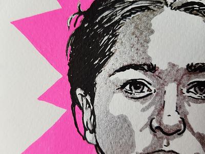 Marker neon portrait acrylic marker