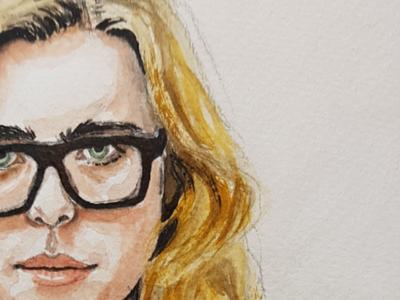 Critic glasses portrait paper sketch watercolour watercolor illustration