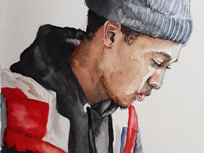 Jordan sketch portrait watercolor watercolour illustration