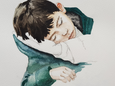 Bambino aquarell portrait sketch watercolor watercolour illustration
