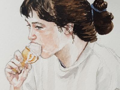 Nicecream closeup portrait sketch watercolor watercolour illustration
