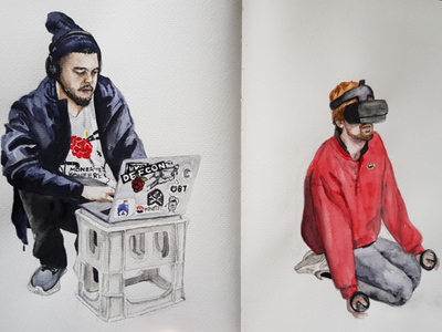 Hacking and kneeling hacker vr aquarell portrait sketch watercolor watercolour illustration