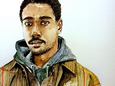 Nice jacket aquarell portrait sketch watercolor watercolour illustration