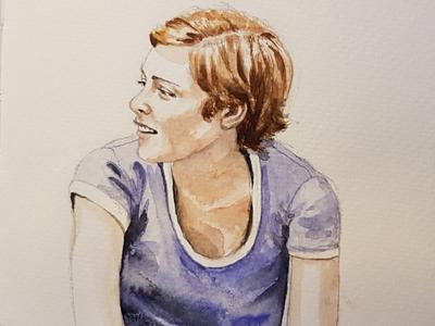 Sitting on the porch aquarell portrait sketch watercolor watercolour illustration