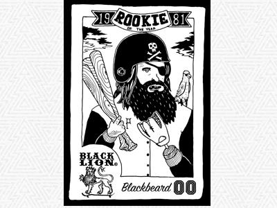Blackbeard's Baseball Card ink pen card baseball pirate blackbeard
