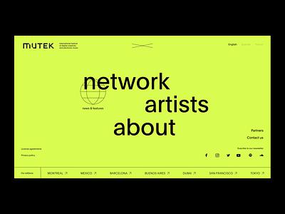 Mutek™ network · Menu and filter paralax 3d art direction interface card hover navigation filter feed blog webdesign design typography motion animation interaction cursor webgl interactive menu