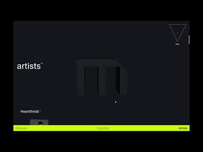 Mutek™ network · Artist exploration paralax card hover typographie interface art direction cursor feed blog 3d webgl navigation animation motion webdesign interactive editorial design