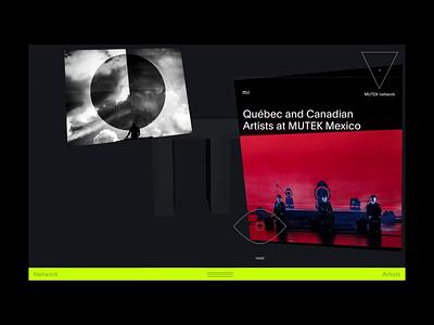 Mutek™ network · News exploration interface art direction navigation hover card webdesign typography paralax cursor webgl 3d motion blog news interactive animation