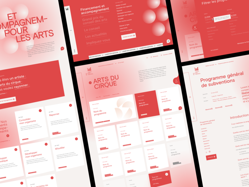 Conseil des arts de Montréal™ · Financing and support category interactive branding identity typogaphy gradient art direction search filter interface webdesign card ux interaction design