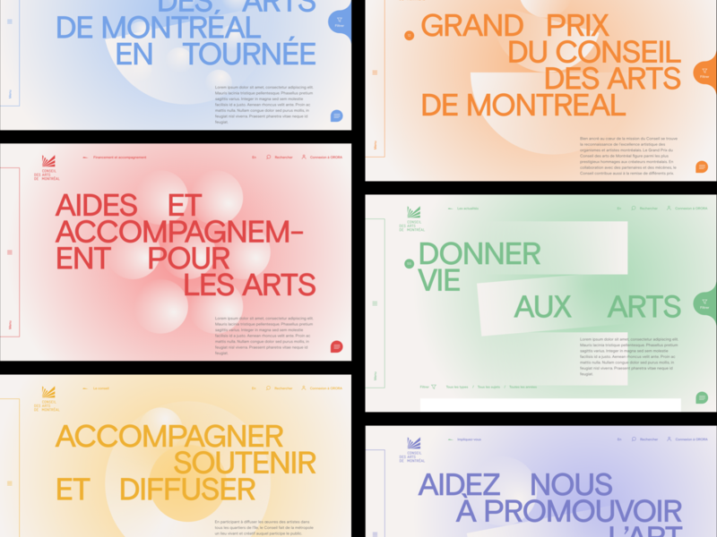 Conseil des arts de Montréal™ · Cover Landing and Menu illustrations shape layers colors typography illustration identity webdesign interactive branding art direction animation color interface navigation interactive design menu cover shape